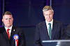 Mayor of London and London Assembly results announcement at City Hall, London, Great Britain <br /> 6th May 2016 <br /> <br /> <br /> Paul Golding - Britain First <br /> <br /> Zac Goldsmith - Conservative<br /> <br /> <br /> <br /> The winner was Sadiq Khan who is appointed the new mayor of London <br /> <br /> <br /> <br /> Photograph by Elliott Franks <br /> Image licensed to Elliott Franks Photography Services