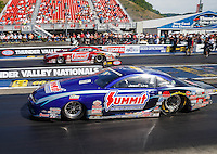 Jun 19, 2016; Bristol, TN, USA; NHRA pro stock driver Jason Line (near) defeats teammate Greg Anderson in the final round of the Thunder Valley Nationals at Bristol Dragway. Mandatory Credit: Mark J. Rebilas-USA TODAY Sports