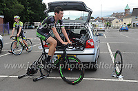 Time for David Hewett of the Excel Pedal Heaven Academy race team to get a pre race warm up during the Abergavenny Festival of Cycling &quot;Grand Prix of Wales&quot; race on Sunday 17th 2016<br /> <br /> <br /> Jeff Thomas Photography -  www.jaypics.photoshelter.com - <br /> e-mail swansea1001@hotmail.co.uk -<br /> Mob: 07837 386244 -