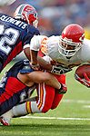 13 November 2005: Kansas City Chiefs wide receiver Dante Hall (82) is tackled by defensive end Aaron Schobel (94) of the Buffalo Bills at Ralph Wilson Stadium in Orchard Park, NY. The Bills defeated the Chiefs 14-3. ..Mandatory Photo Credit: Ed Wolfstein
