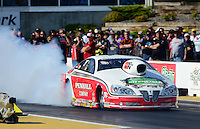 May 18, 2012; Topeka, KS, USA: NHRA pro stock driver Mike Edwards during qualifying for the Summer Nationals at Heartland Park Topeka. Mandatory Credit: Mark J. Rebilas-