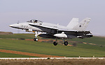 Spanish Air Forces McDonnell Douglas F18A Hornet landing in Torrejon de Ardoz Air Base
