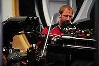 May 6, 2012; Commerce, GA, USA: NHRA crew member for top fuel dragster driver Shawn Langdon during the Southern Nationals at Atlanta Dragway. Mandatory Credit: Mark J. Rebilas-