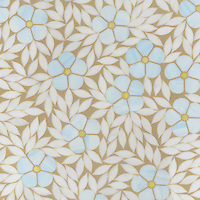 Jacqueline, a jewel glass waterjet mosaic shown in Amazonite, Citrine and Moonstone, is part of the Silk Road Collection by Sara Baldwin for New Ravenna Mosaics.