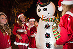 Frosty the Snowman is surrounded by friends at the Festival of Lights parade.