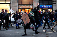 """UNITED STATES, NEW YORK,  November 17, 2011..Protesters affiliated with the Occupy Wall Street movement take part of a protest called a day of action in New York November 17, 2011. VIEWpress /Kena Betancur..Protesters across the country demonstrated en masse Thursday, snarling rush-hour traffic in several major cities and taking aim at banks as part of a national """"day of action"""" to mark the two-month milestone of the Occupy Wall Street movement..Local media report.."""