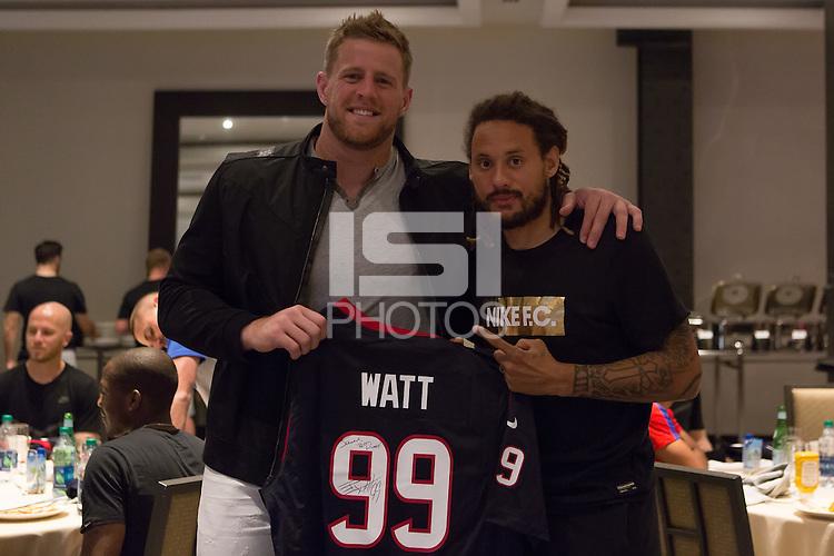 Houston, TX - June 18, 2016: J.J. Watt visits with the U.S. Men's National team at the JW Marriott in Houston.