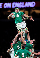 CJ Stander of Ireland wins the ball at a lineout. RBS Six Nations match between England and Ireland on February 27, 2016 at Twickenham Stadium in London, England. Photo by: Patrick Khachfe / Onside Images
