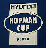 HOPMAN CUP LOGO..05/01/2012, 5th January 2012, 05.01.2012..The HOPMAN CUP, Burswood Dome, Perth, Western Australia, Australia.@AMN IMAGES, Frey, Advantage Media Network, 30, Cleveland Street, London, W1T 4JD .Tel - +44 208 947 0100..email - mfrey@advantagemedianet.com..www.amnimages.photoshelter.com.