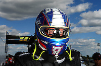 Sept 8, 2012; Clermont, IN, USA: NHRA top fuel dragster driver Tommy Johnson Jr during qualifying for the US Nationals at Lucas Oil Raceway. Mandatory Credit: Mark J. Rebilas-