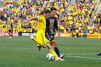 24 OCTOBER 2010:  Columbus Crew defender Frankie Hejduk (2) and Philadelphia Union midfielder Shea Salinas (11) during MLS soccer game at Crew Stadium in Columbus, Ohio on August 28, 2010.