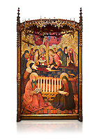 Gothic altarpiece of the Dormition of the Madonna (Dormicio de la Mare de Dieu) by Pere Garcia de Benavarri, circa 1460-1465, tempera and gold leaf on wood.  National Museum of Catalan Art, Barcelona, Spain, inv no: MNAC  64040. Against a white background.