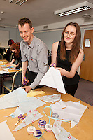 Staff experienced an unsual induction training day for the soon to be opened Derby Hobbycraft store. Snipping away are Kevin Davies and Vicky Physick