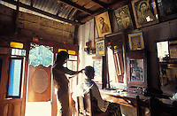 Sri Lanka. Barber Salon interior.