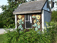 Painted garden shed, Yarmouth Community Garden, Yarmouth Maine