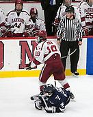 Chris Izmirlian (Yale - 25), Adam Fox (Harvard - 18) - The Harvard University Crimson defeated the Yale University Bulldogs 6-4 in the opening game of their ECAC quarterfinal series on Friday, March 10, 2017, at Bright-Landry Hockey Center in Boston, Massachusetts.