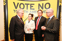 NO REPRO FEE. 252/10/2011. VOTE NO TO THE 30TH AMENDMENT. Pictured at a public meeting about sound reasons to Vote No to the 30th Amendment to the Constitution (Oireachtas Inquiries) hosted by the Irish council for Civil Liberties at the National Library Kildare St. Dublin are Dr Maurice Hayes former Senator and Northern Ireland Ombudsman, Deirdre Duffy Irish council for Civil Liberties, Mark Kelly Director Irish council for Civil Liberties and Peter Mullen Joint Managing Partner, Garrett Sheehan and Partners. Picture James Horan/Collins Photos.
