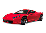 Red 2010 Ferrari 458 Italia mid-engine sports car isolated with clipping path on white background
