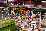People at a tourist attraction, the Old City of Shanghai, China 2014
