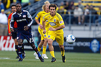 8 MAY 2010:  New England Revolutions' Joseph Niouky (23) and Guillermo Barros Schelotto of the Columbus Crew (7) during MLS soccer game between New England Revolution vs Columbus Crew at Crew Stadium in Columbus, Ohio on May 8, 2010. The Columbus defeated New England 3-2.