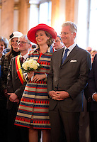 "King Philippe of Belgium & Queen Mathilde during their "" Joyous Entry "" in Brussels - Belgium"
