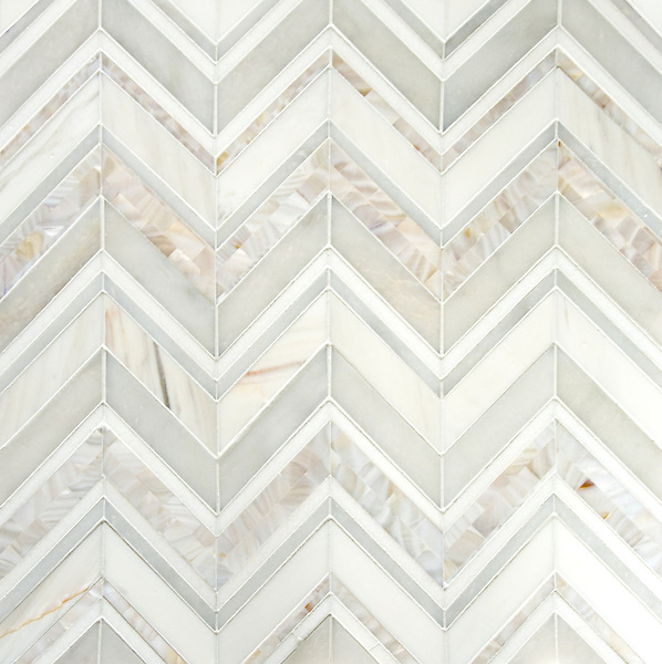 Magdalena, a stone cut mosaic, shown in polished Shell, Thassos, Dolomite,and Afyon White.