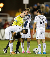Landon Donovan of Galaxy argues with the referee about a bad call during the game against Earthquakes at Buck Shaw Stadium in Santa Clara, California on November 7th, 2012.   LA Galaxy defeated San Jose Earthquakes, 3-1.