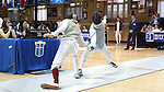 i11 February 2017: Duke's Jan Maceczek (right) and Boston College's Daniel Graap (left) during Foil. The Duke University Blue Devils hosted the Boston College Eagles at Card Gym in Durham, North Carolina in a 2017 College Men's Fencing match. Duke won the dual match 18-9 overall, 9-0 Foil, and 6-3 Saber. Boston College won Epee 6-3.