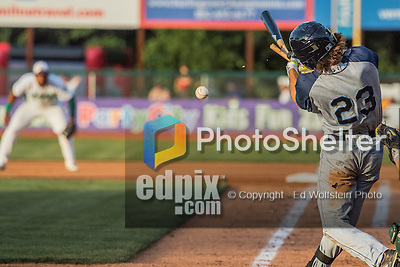 30 July 2016: Brooklyn Cyclones outfielder Gene Cone breaks his bat on a play against the Vermont Lake Monsters at Centennial Field in Burlington, Vermont. The Lake Monsters defeated the Cyclones 7-1 in NY Penn League play. Mandatory Credit: Ed Wolfstein Photo *** RAW (NEF) Image File Available ***