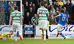 St Johnstone v Celtic...07.05.14    SPFL<br /> Lukas Zaluska saves Stevie May's penalty<br /> Picture by Graeme Hart.<br /> Copyright Perthshire Picture Agency<br /> Tel: 01738 623350  Mobile: 07990 594431