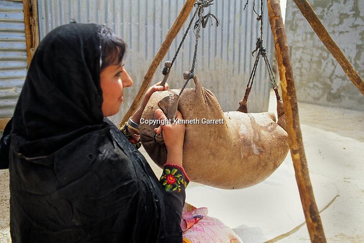 Bedouin woman making cheese in goat skin bag, daily life, Jordan