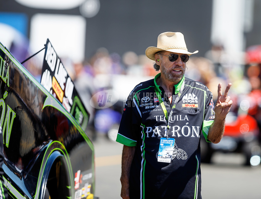 Jul 30, 2016; Sonoma, CA, USA; John Paul DeJoria , father of NHRA funny car driver Alexis DeJoria (not pictured) during qualifying for the Sonoma Nationals at Sonoma Raceway. Mandatory Credit: Mark J. Rebilas-USA TODAY Sports