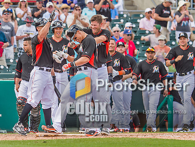 10 March 2015: Miami Marlins infielder Derek Dietrich crosses the plate after hitting a walk-off solo home run during Spring Training action against the Washington Nationals at Roger Dean Stadium in Jupiter, Florida. The Marlins edged out the Nationals 2-1 in Grapefruit League play. Mandatory Credit: Ed Wolfstein Photo *** RAW (NEF) Image File Available ***
