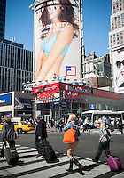 Advertising in Midtown Manhattan for the JCPenney department store in New York is seen on Tuesday, April 9, 2013.  JCPenney recently dismissed its CEO Ron Johnson and is replacing him with Johnson's predecessor Mike Ullman.  (© Richard B. Levine)