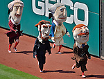 17 June 2012: The GEICO Racing Presidents entertain the crowd during a game between the New York Yankees and the Washington Nationals at Nationals Park in Washington, DC. The Yankees defeated the Nationals 4-1 to sweep their 3-game series. Mandatory Credit: Ed Wolfstein Photo