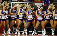 TCU cheerleaders perform as BYU plays against TCU as they compete in the Mountain West Conference basketball Championship Tournament at the Thomas &amp; Mack Center in Las Vegas, Nevada Thursday, March 11, 2010.  August Miller, Deseret News .