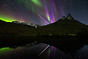 September 19th, 2012 I managed to capture the most magnificent fireball I have ever seen. Among beautiful purple auroas and the magnificent mountain Otertinden, all reflected in the river Signalelva. <br />