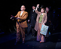 London, UK. 21.02.2014. THE A TO Z OF MRS P has its world premiere at Southwark Playhouse.  The story behind the handy, all-purpose, pocket-sized A-Z Street Guide is written by Diane Samuels (book) and Gwyneth Herbert (music and lyrics). <br />  Starring ISY SUTTIE (Peep Show / Shameless) in her first musical, as the pioneering Mrs P; with Tony Award winner FRANCES RUFFELLE (Les Miserables, Pippin, Piaf) as her emotionally fragile mother; and Olivier Award winner MICHAEL MATUS (Martin Guerre, The Baker's Wife, The Sound Of Music) as Phyllis&rsquo;s beloved and impossible father, the map publisher Sandor Gross. Directed by Sam Buntrock. Picture shows: Ian Caddick (Bus Driver), Isy suttie (Mrs P), Stuart Matthew Price and Michael Matus. <br /> Photograph &copy; Jane Hobson.