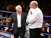 Frank Maloney discusses the fight with the referee - Danny Williams (silver shorts, Brixton) defeats John McDermott (blue shorts, Horndon) in a Heavyweight contest for the British Title at Goresbrook Leisure Centre, Dagenham, Essex promoted by Frank Maloney / FTM Sports - 18/07/08 - MANDATORY CREDIT: Gavin Ellis/TGSPHOTO - Self billing applies where appropriate - Tel: 0845 094 6026.