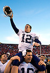 John Beck is carried off the field after throwing a touchdown with no time left on the clock to beat Utah...06FTB at Utah ..BYU-33   UNM-31..November 25, 2006..