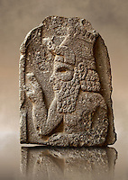 Late Hittite (Aramaean) Basalt funereal Steel with a relief sculpture of a man from 9 - 8th Cent B.C, excavated from Um-Shershuh, Syria.  Istanbul Archaeological Museum Inv. No 7786.