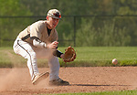 BEACON FALLS,  CT-051817JS34-Woodland's Zack Bedryczuk (12) fields a ground ball during their game against Wolcott Thursday at Woodland Regional High School in Beacon Falls. <br /> Jim Shannon Republican-American