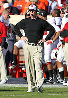 Oct. 22, 2011 - Charlottesville, Virginia - USA; North Carolina State Wolfpack head coach Tom O'Brien reacts during an NCAA football game against the Virginia Cavaliers at the Scott Stadium. NC State defeated Virginia 28-14. (Credit Image: © Andrew Shurtleff
