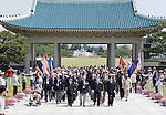 British Korean War veterans are among the Commonwealth delegation who took part in a wreath-laying commemorative event for the 60th anniversary of the start of the Korean War at the National Cemetery in Seoul, South Korea on 23 June 2010..Photographer: Rob Gilhooly .