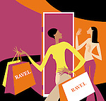 Shop assistant helping shopper