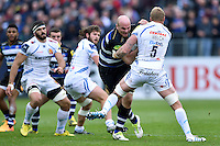 Matt Garvey of Bath Rugby takes on the Exeter Chiefs defence. Aviva Premiership match, between Bath Rugby and Exeter Chiefs on October 17, 2015 at the Recreation Ground in Bath, England. Photo by: Patrick Khachfe / Onside Images