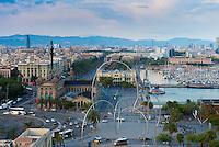 Columbus Monument and Barcelona port, Spain