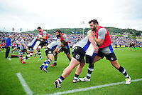 The Bath Rugby squad warm up prior to the match. Aviva Premiership match, between Bath Rugby and Worcester Warriors on September 17, 2016 at the Recreation Ground in Bath, England. Photo by: Patrick Khachfe / Onside Images