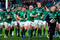 Rory Best leads the Ireland team off the field after the pre-match warm-up. RBS Six Nations match between England and Ireland on February 27, 2016 at Twickenham Stadium in London, England. Photo by: Patrick Khachfe / Onside Images