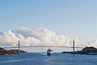 Hurtigruten, Norwegian coastal ferry arriving at port in the village of Rørvik, Norway
